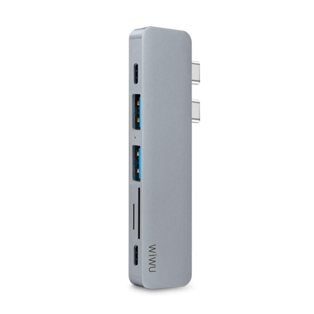 Адаптер WIWU T8 Grey USB-C to MicroSD/HDMI/USB-C x 2/SD/USB3 x 2