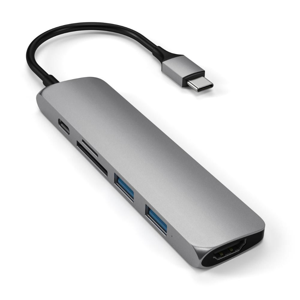 Адаптер Satechi USB-С SLIM V2 MULTIPORT ADAPTER Space Gray USB-C to USB3 x 2/SD/MicroSD/HDMI 4K/USB-С ST-SCMA2M
