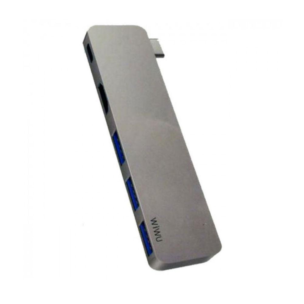Адаптер WIWU T6 Pro Gray USB-C to USB-C/HDMI/USB3 x 3