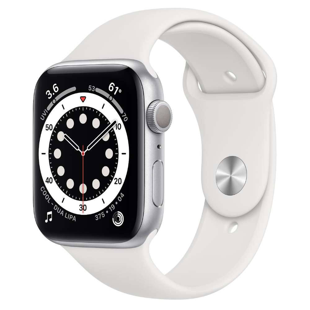 Apple Watch Series 6 GPS, 44mm Silver Aluminum Case with White Sport Ban...